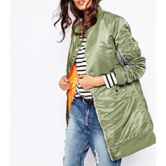 Green long bomber jacket