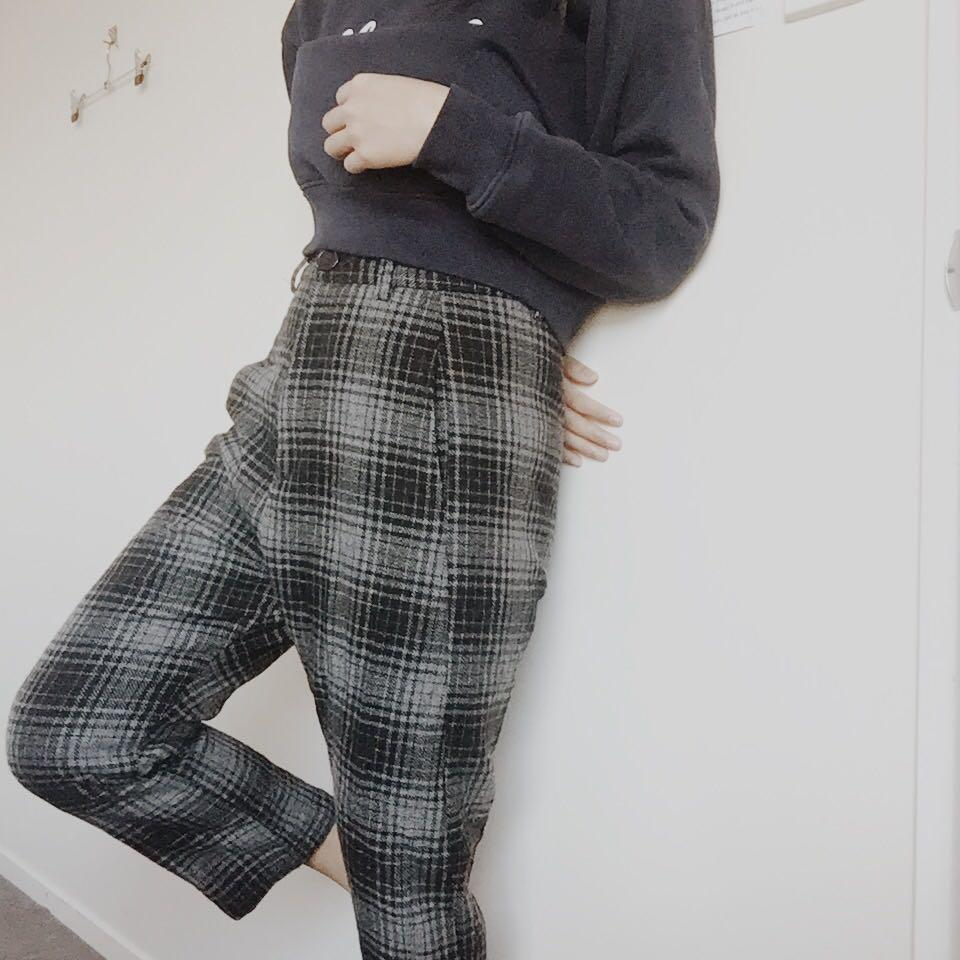 High waisted Checkered pants