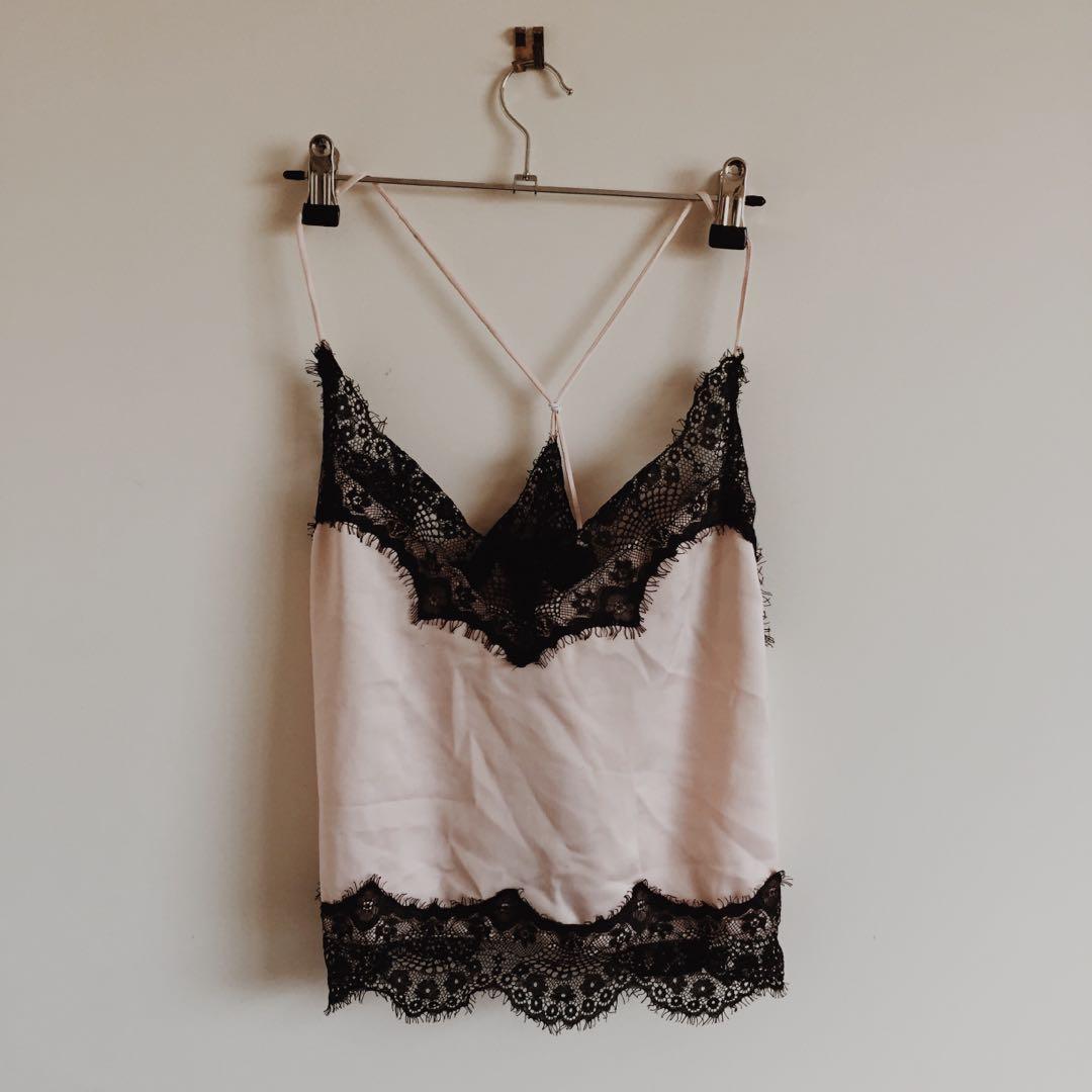Lace Silk Cami Pink/Black
