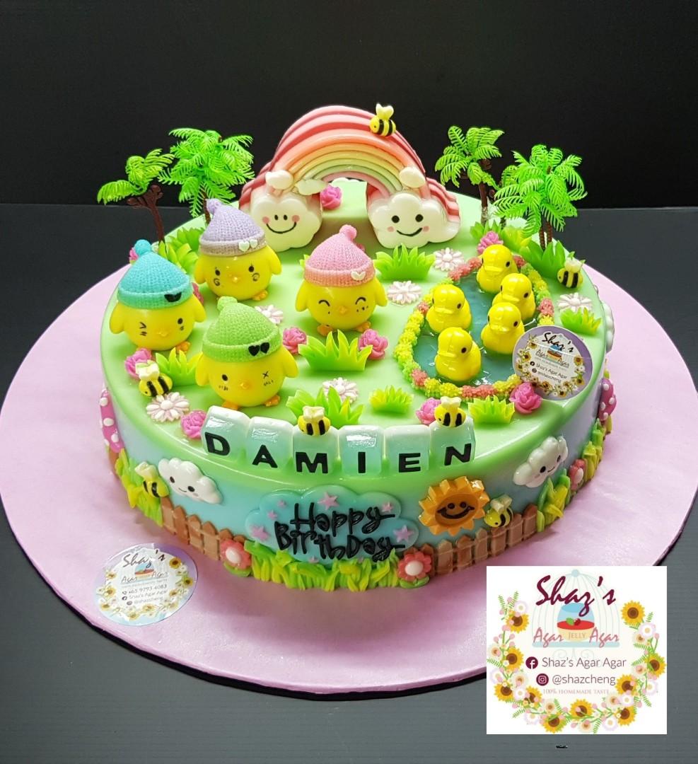 Little Chicken With Duckling Rainbow Theme Agar Jelly Birthday