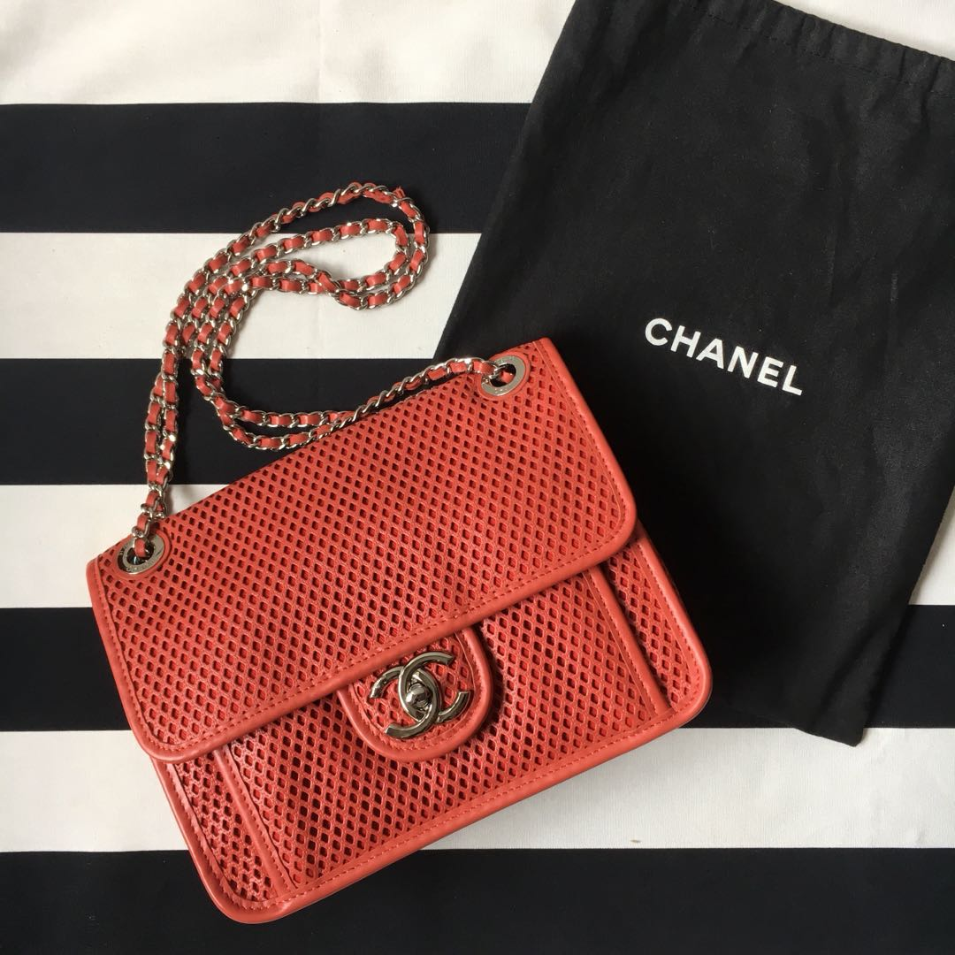 c8d3b2c562c89b **Price Reduced** Chanel Red Perforated Leather Up in the Air Small Flap Bag,  Luxury, Bags & Wallets, Handbags on Carousell