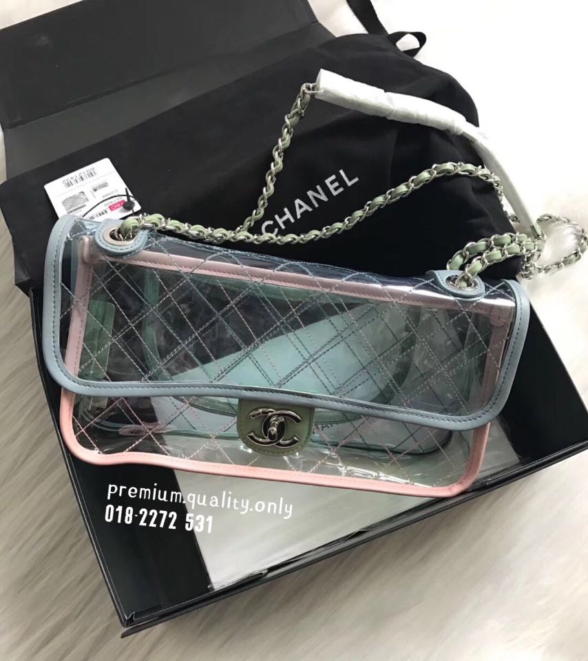 8e77b276dadf Sales🧡 Chanel Transparent Flap Bag In Blue