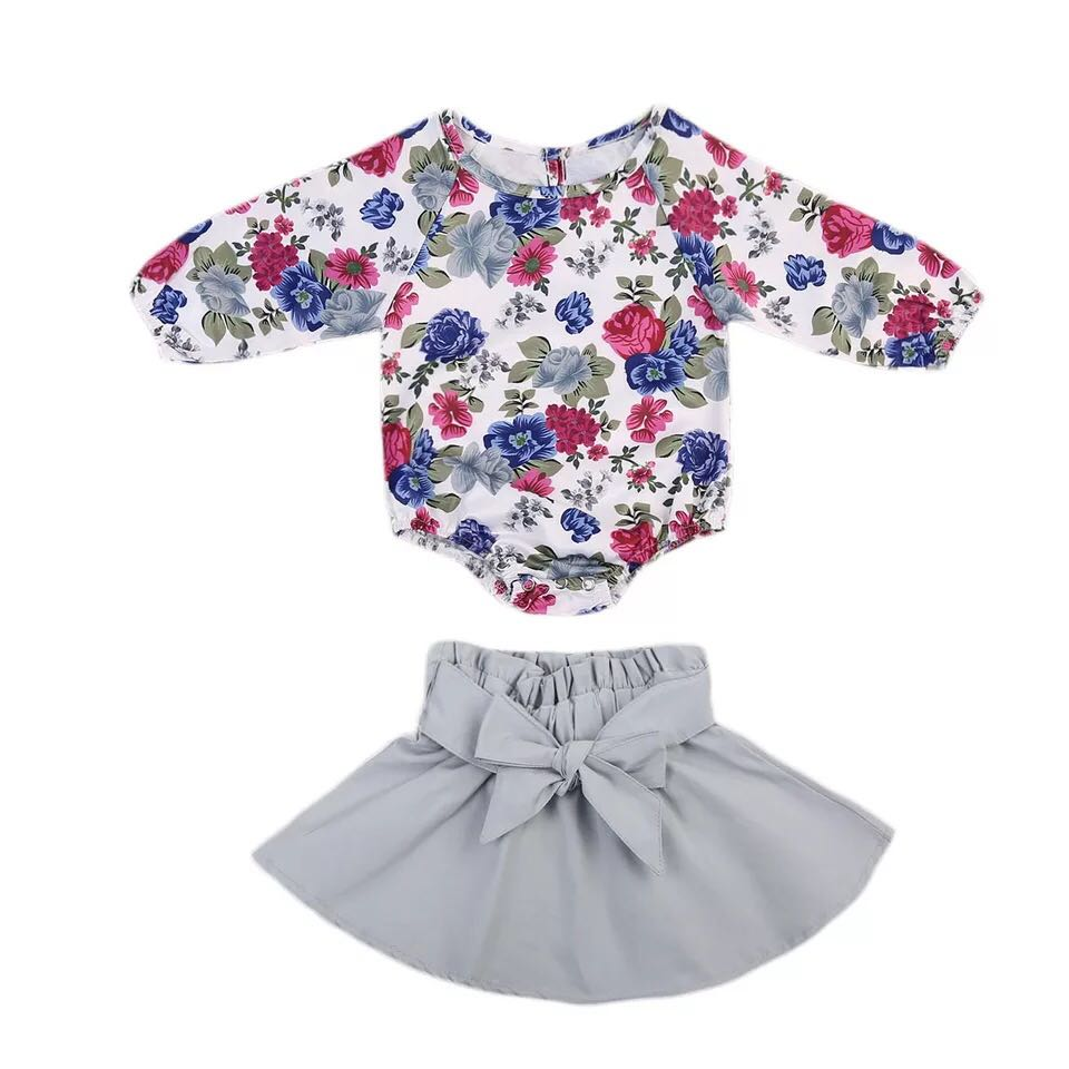 d7c4348be29 ✓️STOCK - 2pc PURPLE PINK FLORAL SLEEVES ROMPER TOP COTTON   GREY ...