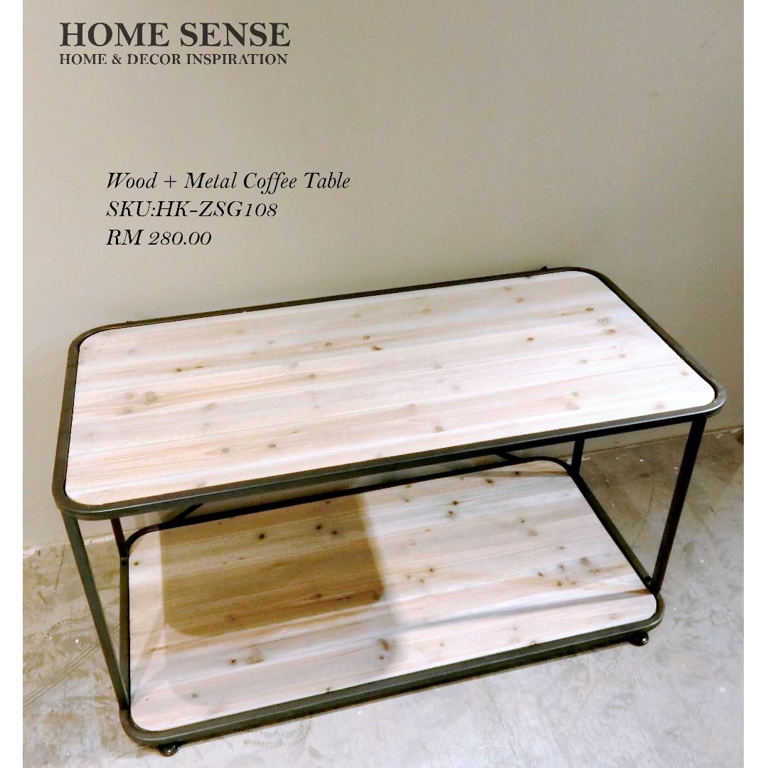 Wood metal coffee table rumah perabot perabot di carousell