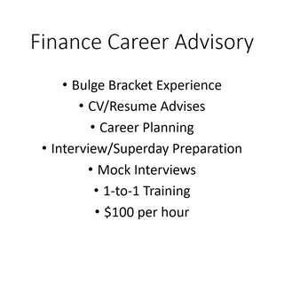 🚚 Finance Career Advisory - Top Tier Banks/FI