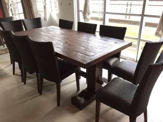 Solid Wood Dining Table + 10 Rattan & Mahogany Chairs