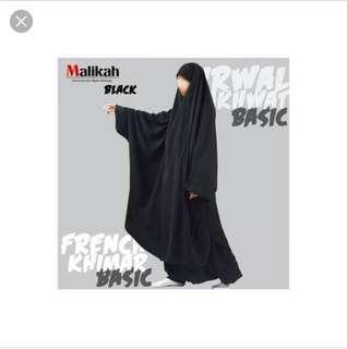 🚚 Malikah french khimar in black