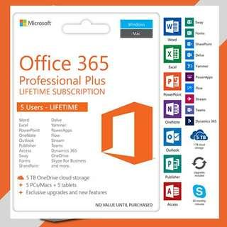 MS Office 365! life time 長用 mac,5部機 support 5 devices, Professional plus 專業版! #sellfaster