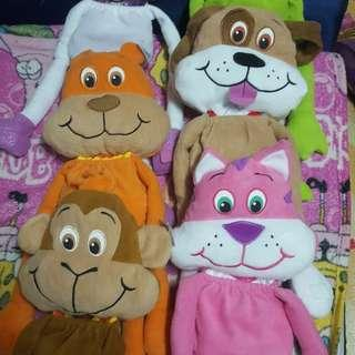 Pillow case with stuff toy