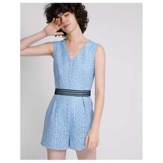 BNWT Saturday Club Guipure lace romper with contrast waist panel (Sky Blue)