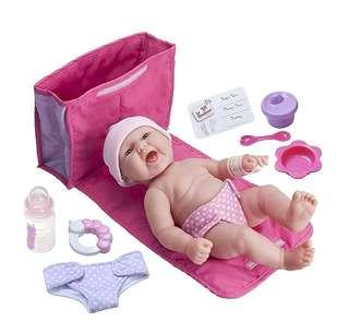 "*In Stock* BN La Newborn Realistic Baby Doll featuring 13"" All Vinyl Newborn Doll Diaper Bag Gift Set, Multicolour by JC Toys"