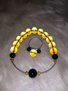 Matching citrine and black onyx set