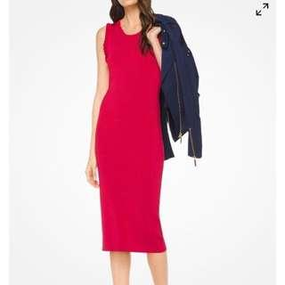 MICHAEL KORS RED BODY CON WITH RUFFLE DETAIL