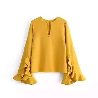 Mustard Ruffle Sleeve