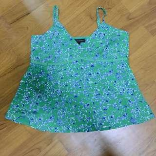 Banana Republic Green Floral Cami Spag Top