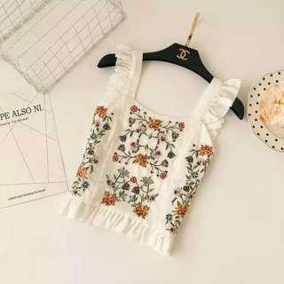 Ruffle Embroidered Crop