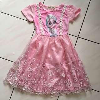 Princess Anna & Elsa Pink Dress