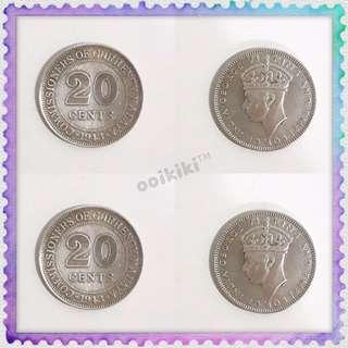 20 Cents King & Emperor of India George VI Old Coins Antique Collection