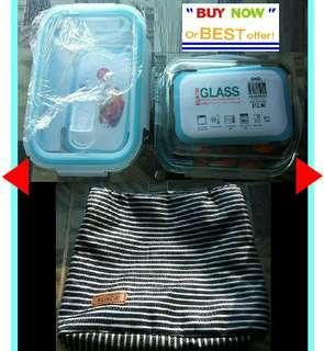 BN. 1 Set KUKERI - 2x Glass ware food storage containers w/ vented airtight lid & thermal bag
