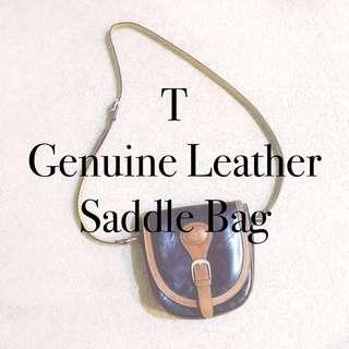 T Vintage Leather Saddle Bag