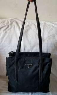Authentic Vintage Prada Black Nylon Shoulder Bag
