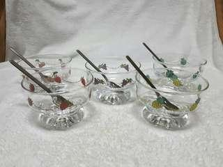 ☇Vintage dessert glass bowl (5pcs)☇