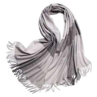 🚚 超美cashmere灰色格紋大披巾