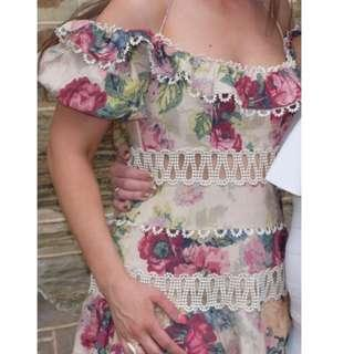 ZIMMERMANN MELODY OFF SHOULDER DRESS IN TAUPE FLORAL RRP $800