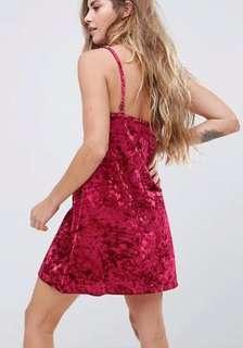Mink pink red velvet slip dress