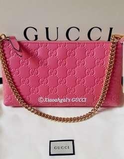 🌞AUCTION (Retail $1800+)▶️MY FOLLOWERS ONLY!🌞❌Non Followers cant join bid❌👜AUTHENTIC BRAND NEW+🌟RECEIPT🌟👜GUCCI Rose Pink Wrislet/ Porchette Bag Wallet (Money, 6 card slots, hp, keys)💋No Pet No Smoker CLEAN hse💋