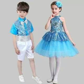 Boys Or Girls Shimmer Sky Blue Dance Costume Set