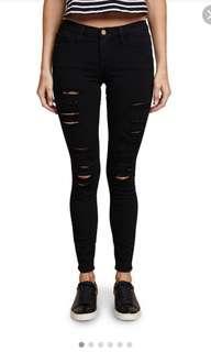 Frame Le Colour Ripped Black Jeans size 24