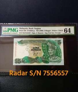 🇲🇾 Malaysia 6th Series RM5 Banknote~Cross Flag Pole Version Radar S/N 7556557~PMG 64 Choice Uncirculated