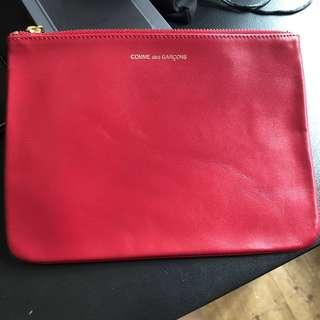 Comme des garcons classic red leather pouch