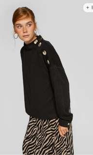 Stradivarius black button top