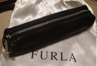FURLA Black Leather Zip Pouch | Stationery Case