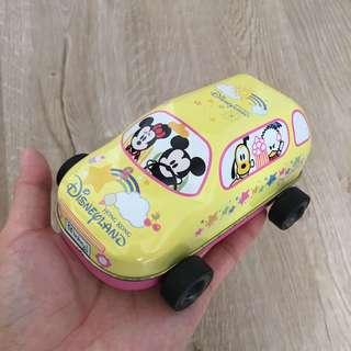 Hong Kong Disneyland collectible. Candy tin container car with Mickey Mouse Minnie Donald Duck vintage toy