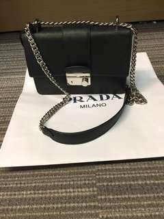 prada chain cross body saffiano bag box