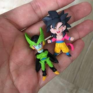 Cute DBZ figurine small size Chibi style goku and cell figure dragonballz dragonball gachapon gashapon villains gt