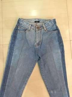 two tone unfinished jeans