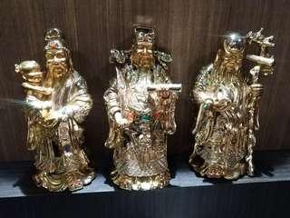 Fu Lu Shou Gold-plated Figurines