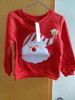 全新聖誕老人圖案bb衛衣 約2至3歲
