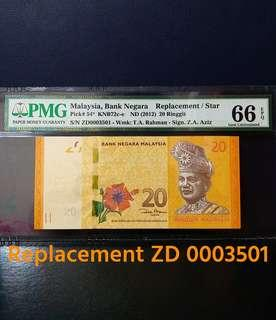 🇲🇾 Malaysia 12th Series RM20 Banknote~Replacement/Star ZD 4 Digit Low Number~PMG 66EPQ Gem Uncirculated