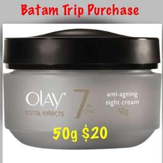 (Batam Trip Purchase) Olay Total Effects 7 in One Anti-ageing Night Cream (50g)