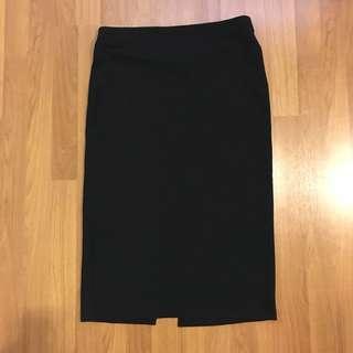Something borrowed Rib Knit Black Bodycon Midi Skirt