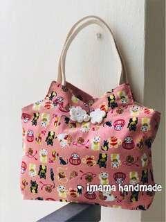 Cheongsum/Qipao tangerine tote bag/ lunch bag Design: #06