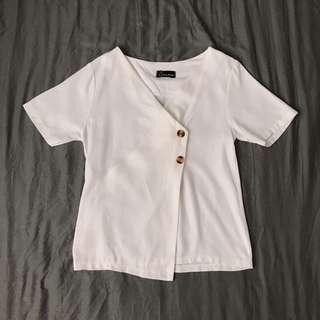 White Linen Wrapped Top with Tortoise Shell Buttons