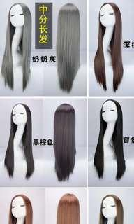 Black long wig natural