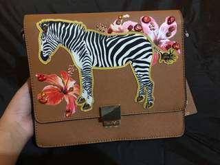 BN Aldo Plumpsprings Zebra Crossbody Bag