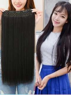 Long hair extension wig black